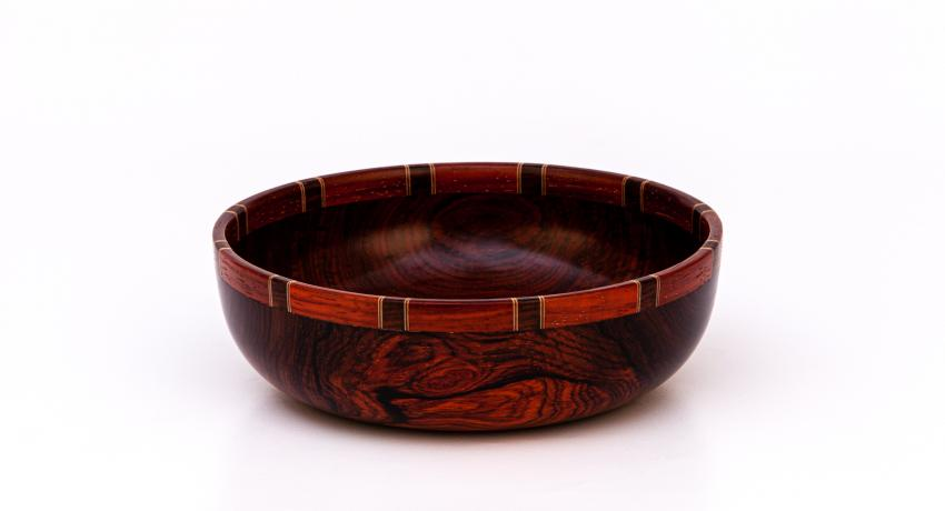 Mexican cocobolo bowl with segmented rim 20cm