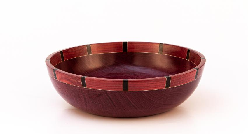 Purple heart bowl with segmented rim 30cm